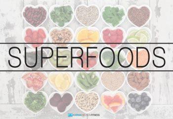 Diet detox super food selection in heart shaped porcelain bowls