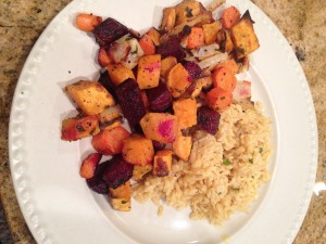 Roasted root veggies & brown rice